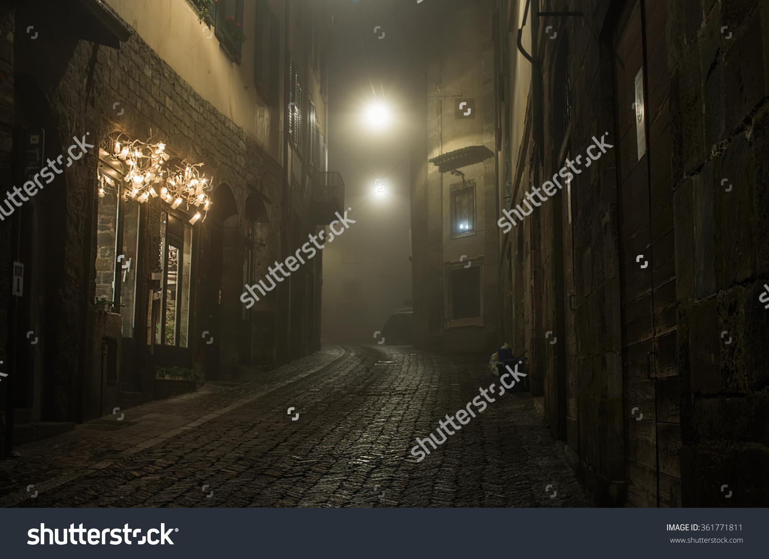 Old European Narrow Empty Street Medieval Stock Photo 361771811.