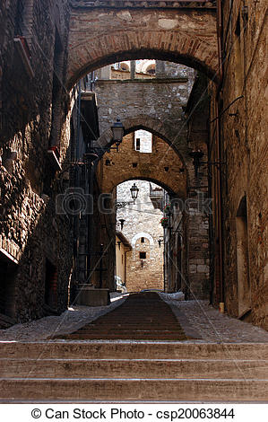 Stock Photo of Italian Medieval Arched Alley.