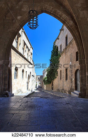 Stock Photography of Typical narrow lane in Lindos, Rhodes, Greece.