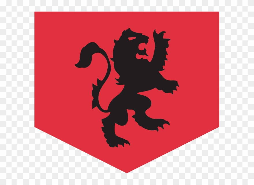 Red Flag With A Black, Medieval Lion Design Representing.
