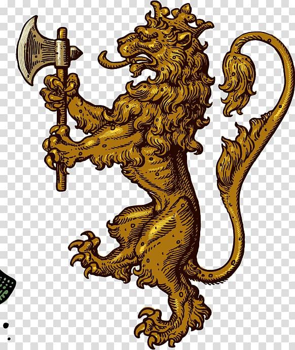 Lion holding axe digital illustration, Coat of arms Heraldry.