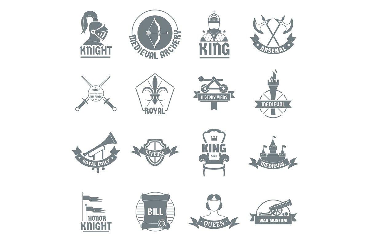 Knight medieval logo icons set.