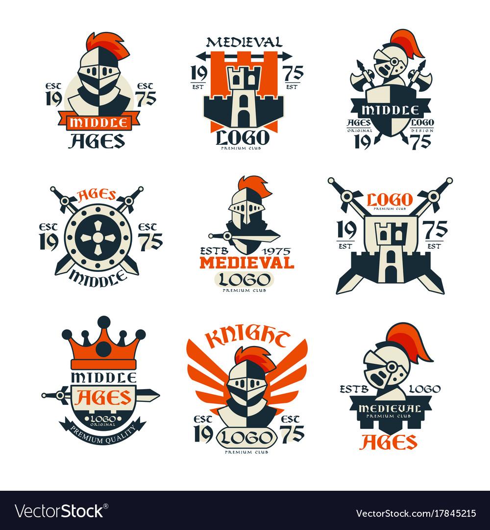 Middle ages logo design set vintage medieval.