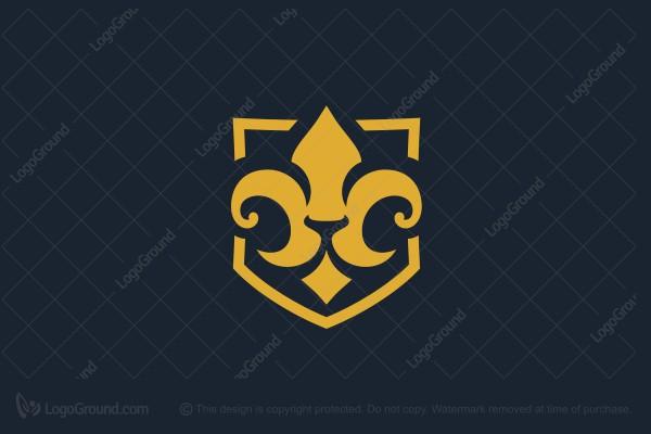 Exclusive Logo 165131, Medieval Lily Lion Heraldry Logo.