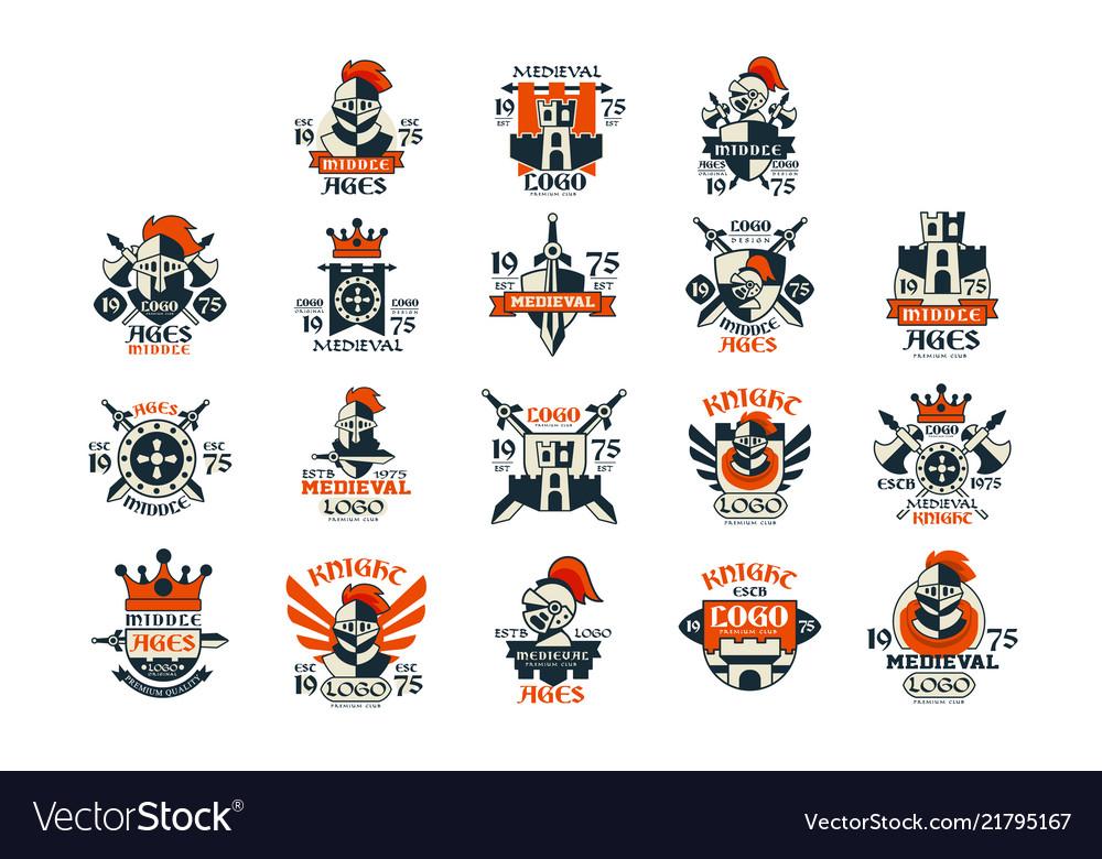 Medieval logo design set middle ages vintage.