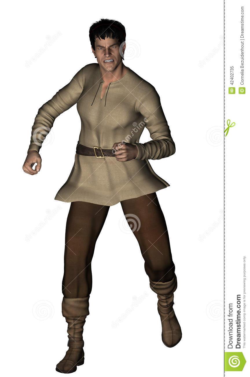 Medieval Man Running Stock Illustration.