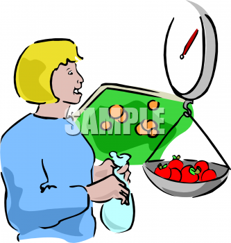 Food Clip Art of a Woman Weighing Tomatoes at the Market.