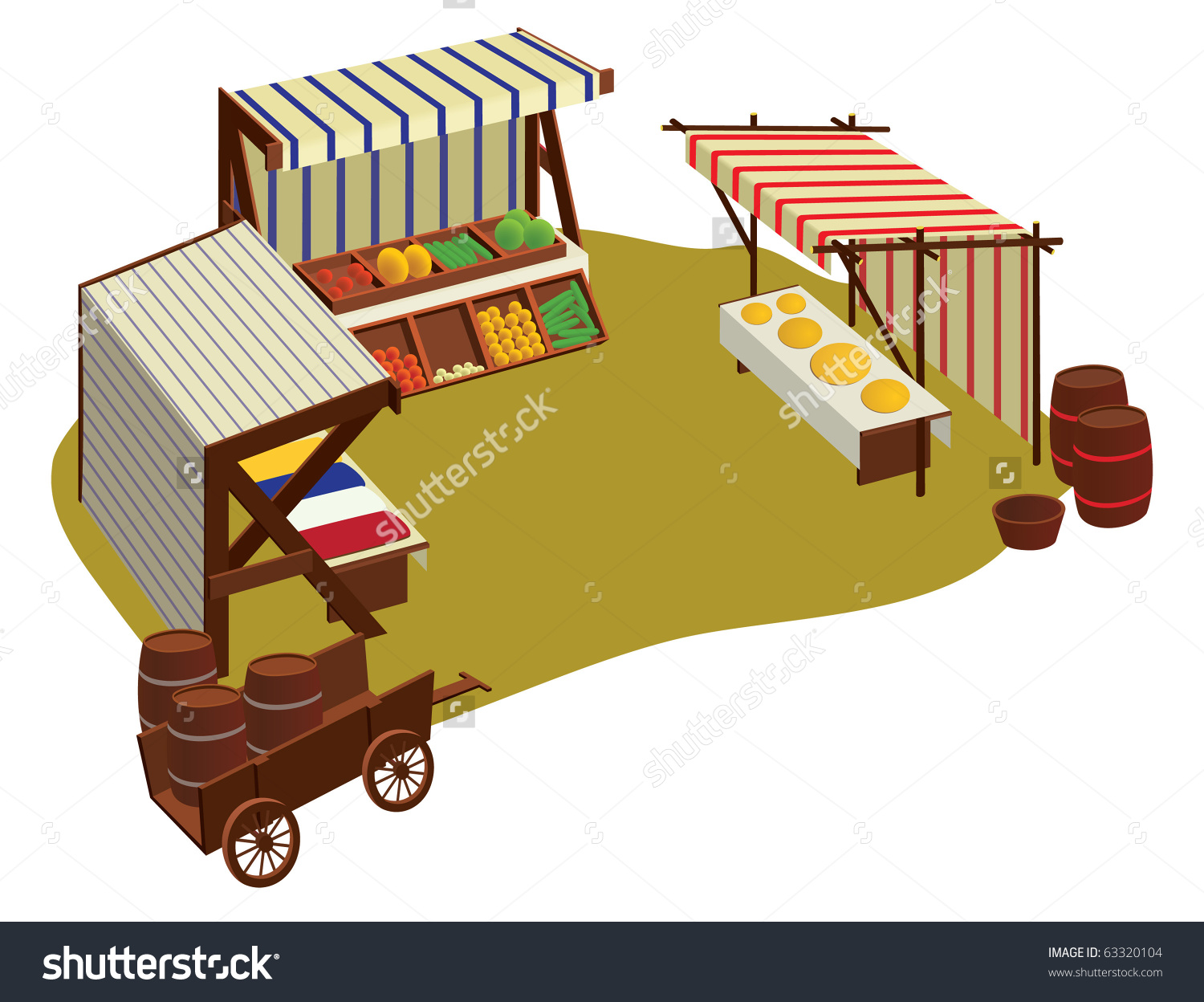 Isolated Medieval Marketplace Stock Vector 63320104.