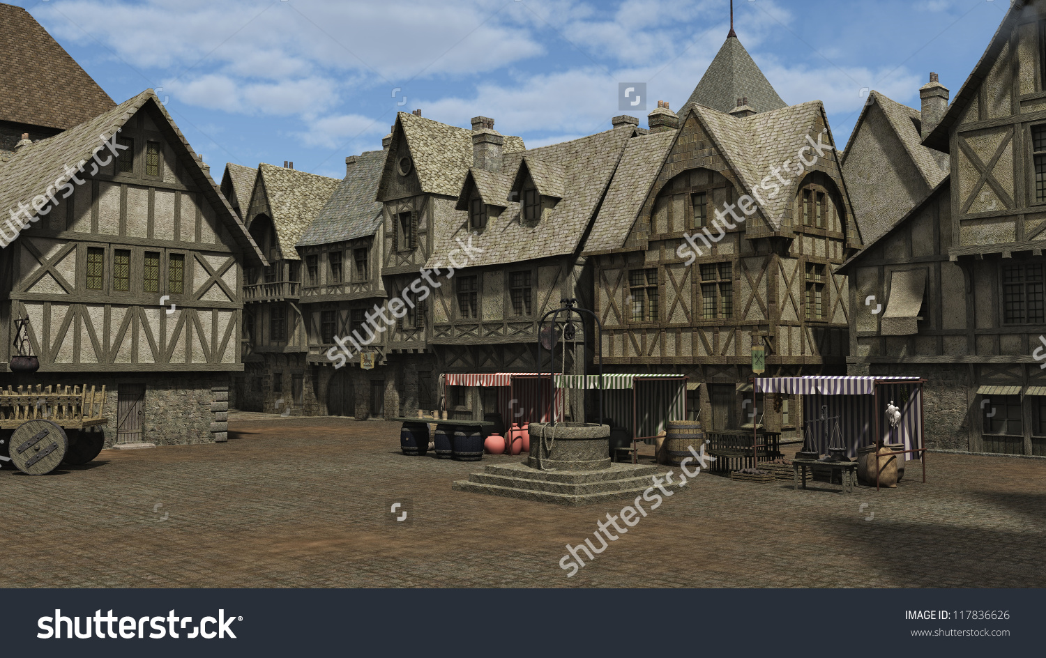 Medieval Fantasy Town Square Market Place Stock Illustration.