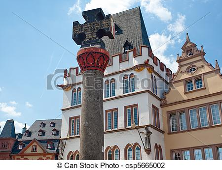 Stock Photo of Market cross on market square in Trier, Germany.