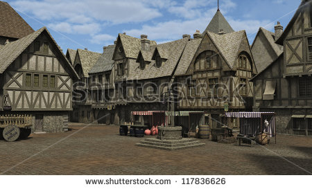 Medieval Market Stock Images, Royalty.