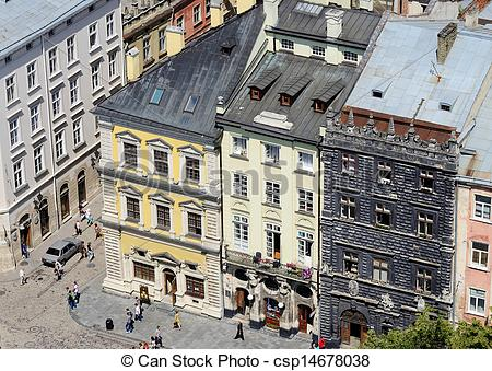 Stock Photos of Top view of Lviv market square.