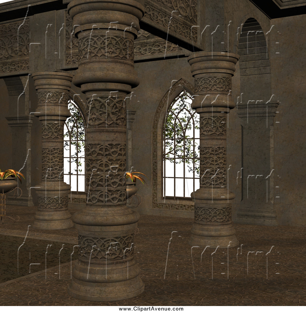 Avenue Clipart of a 3d Medieval Corridor Interior by Ralf61.
