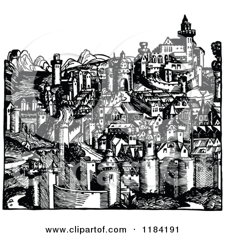 Clipart of a Retro Vintage Black and White Medieval Hillside City.