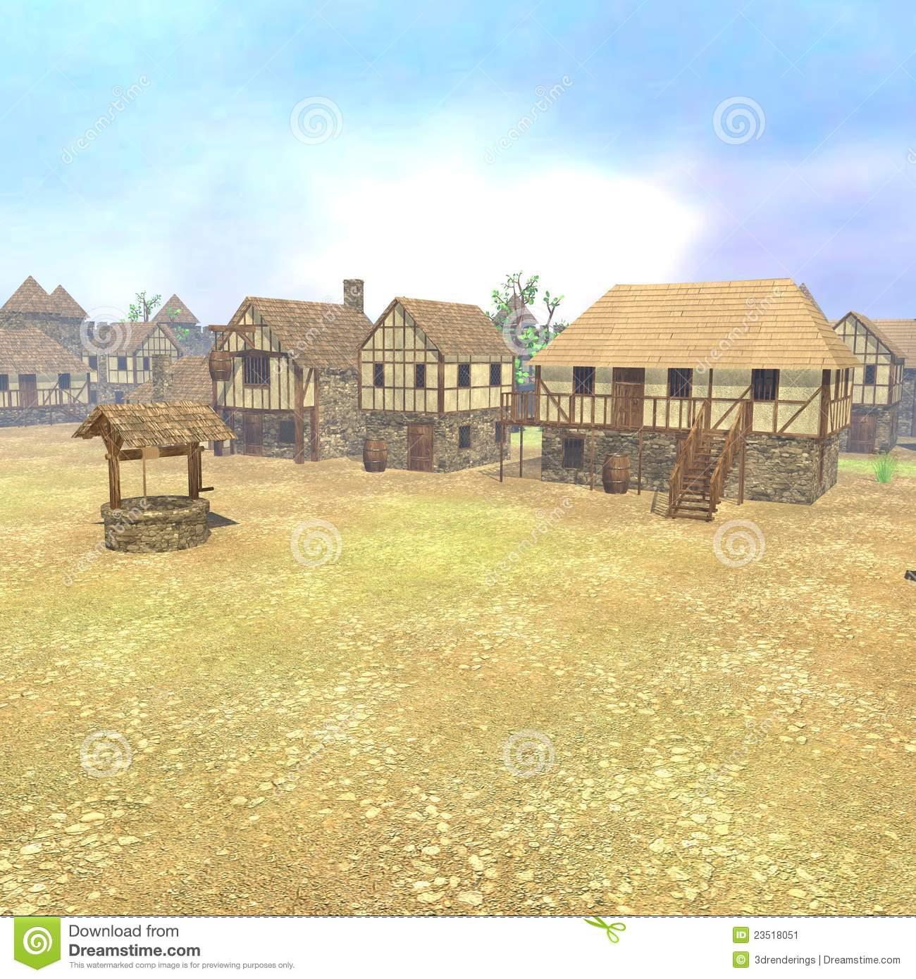Medieval Town Render Stock Image.