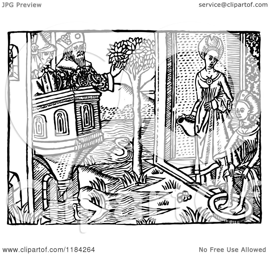 Clipart of a Retro Vintage Black and White Medieval River Scene.