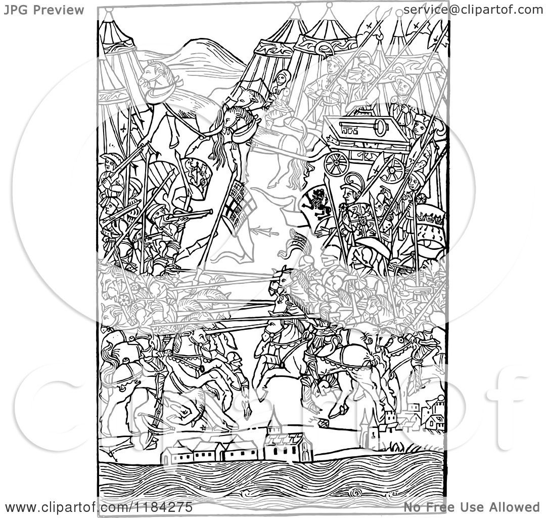 Clipart of a Retro Vintage Black and White Medieval Battle Scene.
