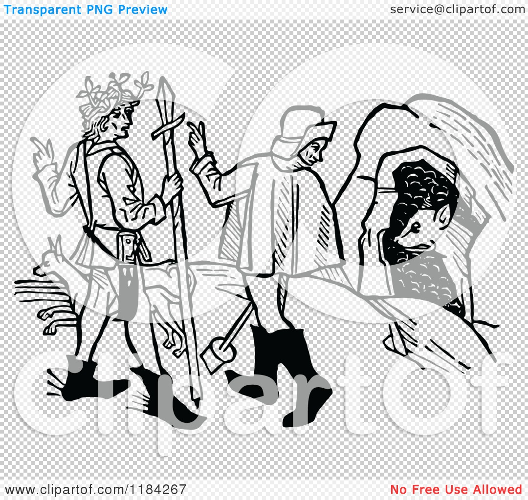 Clipart of a Retro Vintage Black and White Medieval Hunting Scene.
