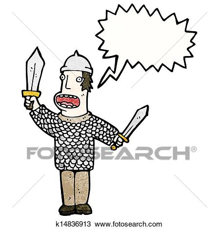 Cartoon medieval soldier Clipart.