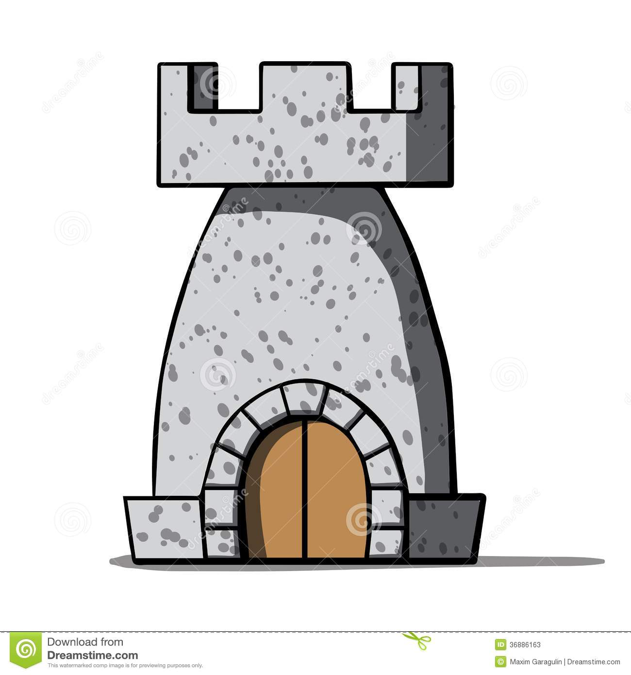 Cartoon Medieval Tower. Vector Illustration Stock Photos.