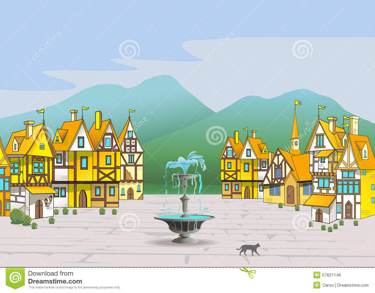 Magic Medieval Town Stock Vector.