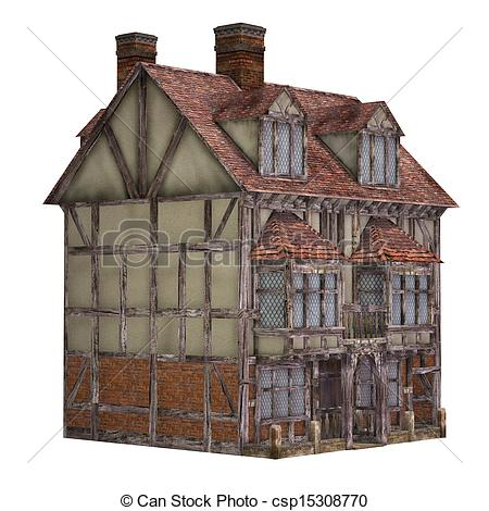 Drawing of Medieval town house, isolated on the white background.