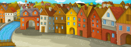 Cartoon Happy Medieval Town Stock Illustrations.