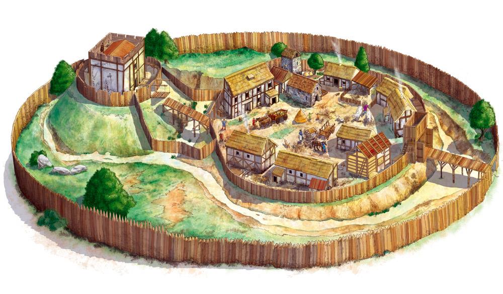 Medieval village icon clipart.