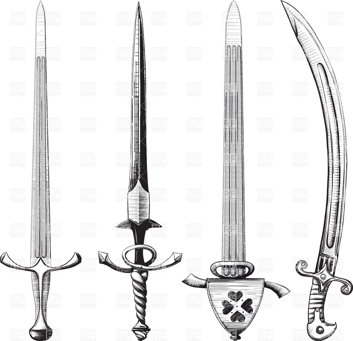 Medieval Swords And Shields Clipart.
