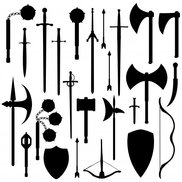 Medieval weapons silhouette clip art vector Vector.