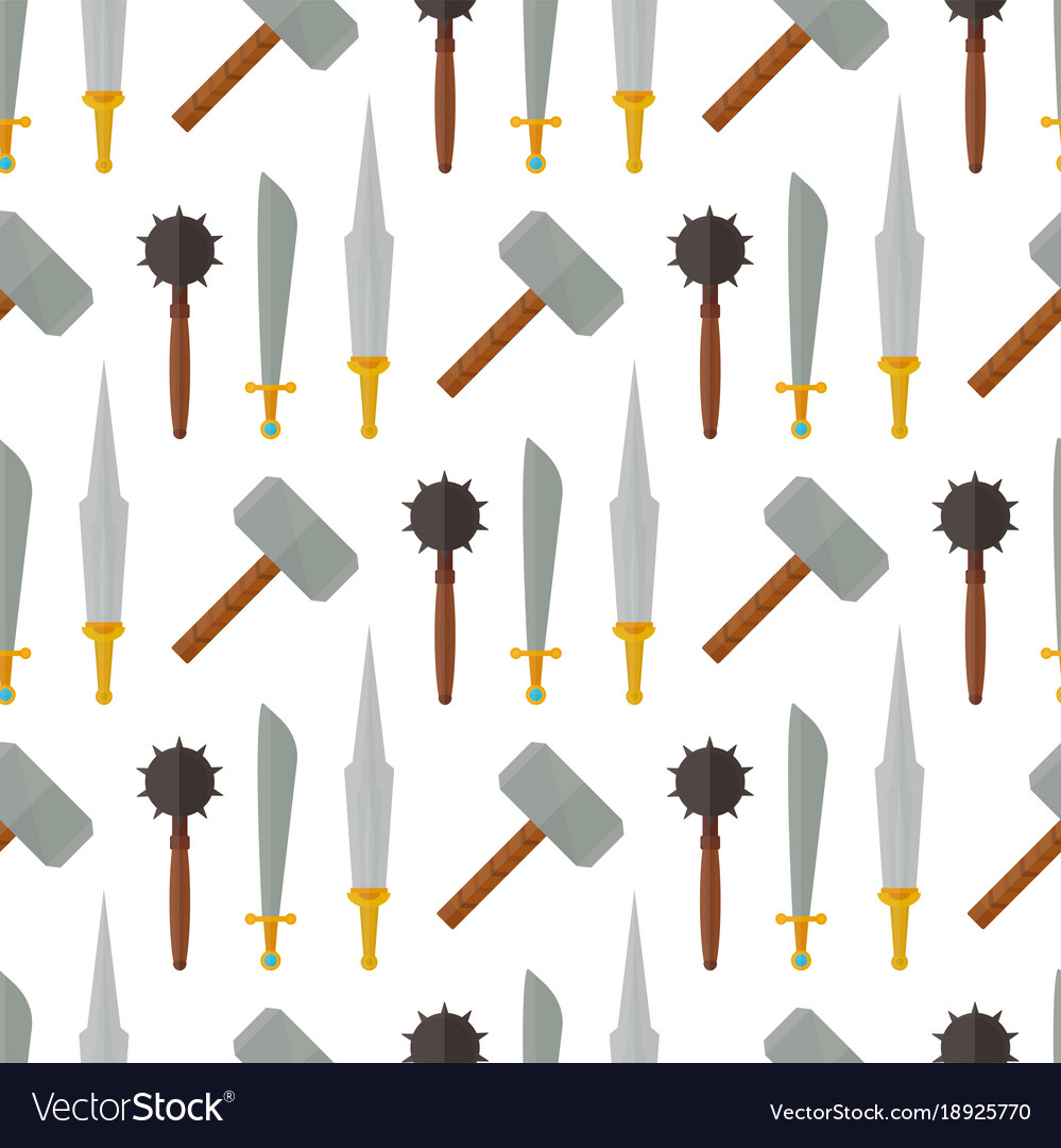 Knights medieval weapons heraldic elements.