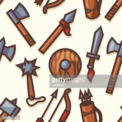 Seamless pattern with medieval weapons icons Clipart Image.