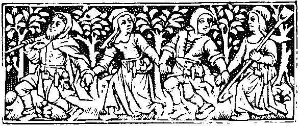Medieval Woodcuts Clipart Collection 52. Peasants frolicking.