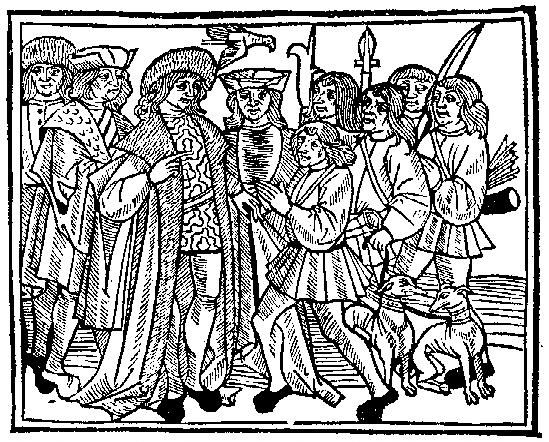 Medieval Woodcuts Clipart Collection 27. A gentleman and his.