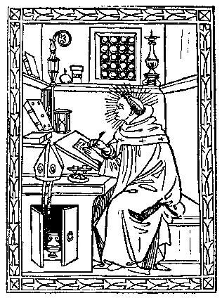 Medieval Woodcuts Clipart Collection 24. St. Augustine in.