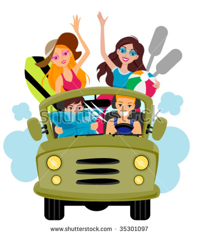 Friends On Jeep Going Beach Vector Stock Vector 35301097.