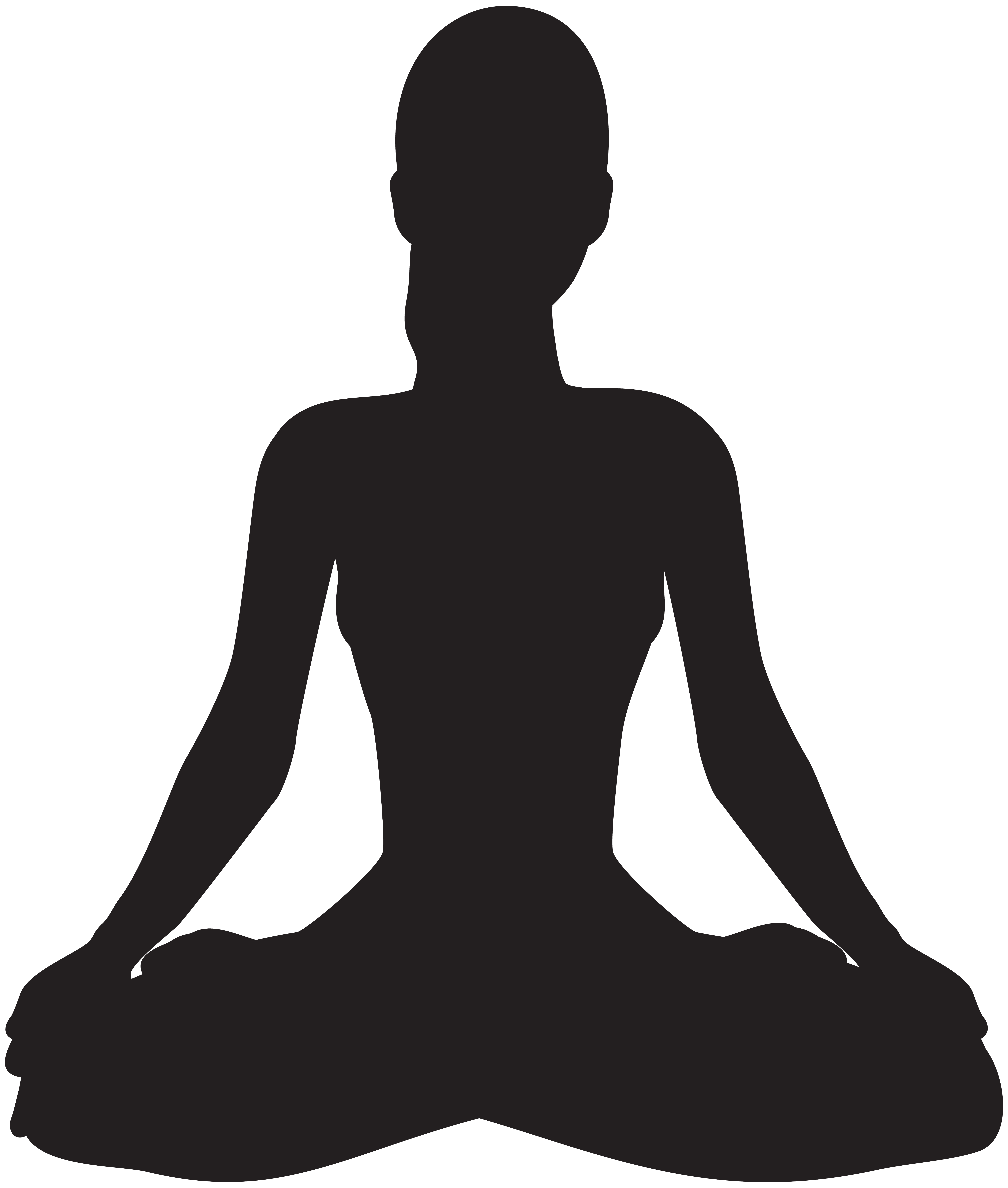 Meditating Silhouette PNG Clip Art.