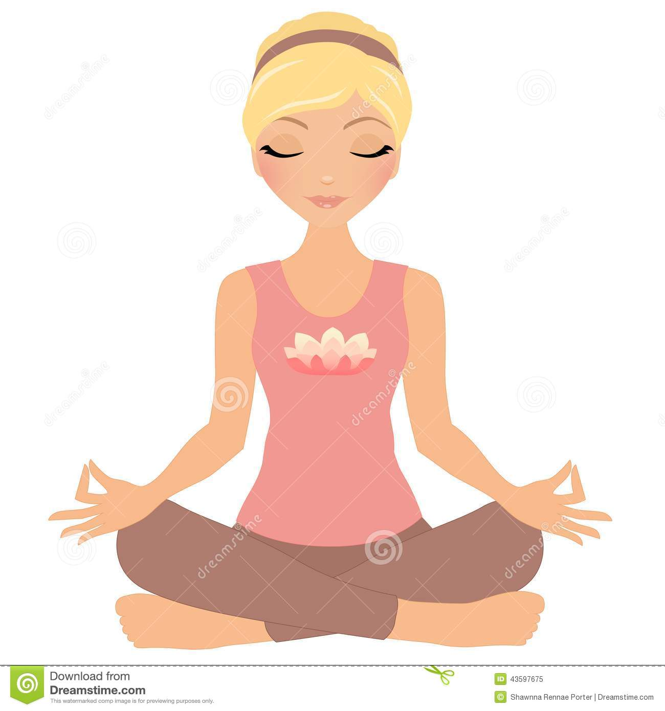 Woman meditating clipart.