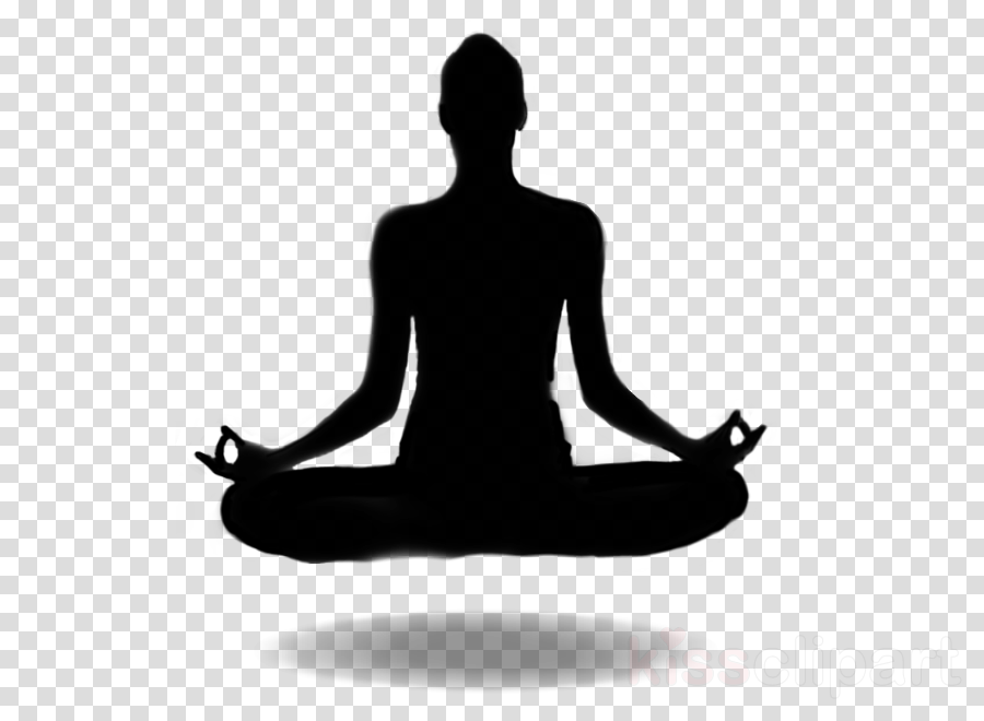 meditation silhouette physical fitness yoga sitting clipart.