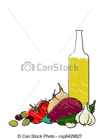 Vectors Illustration of Mediterranean vegetable still life.