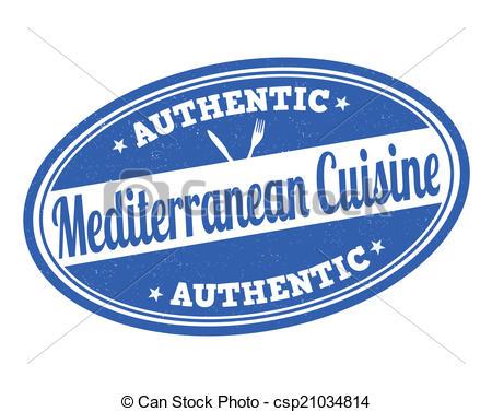 Vector Clip Art of Mediterranean cuisine stamp.