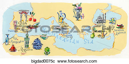 Stock Photography of map, illustrated map, stylized map.