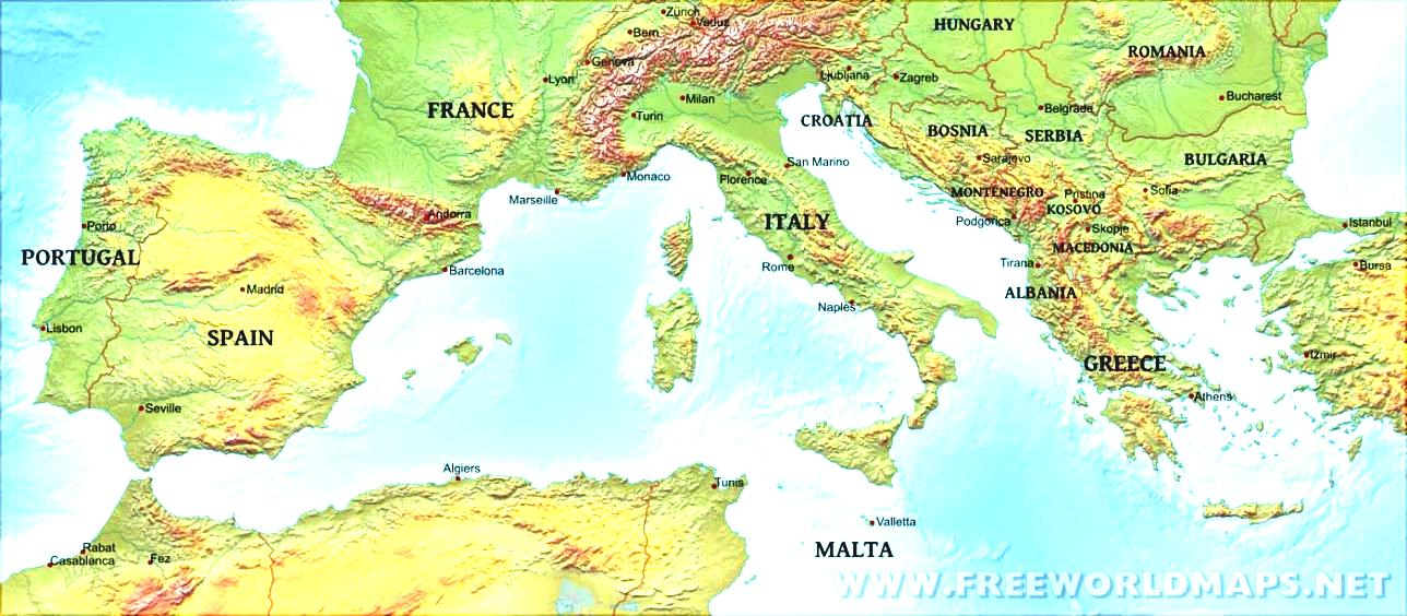 World Map Mediterranean Sea Southern Europe Physical Of.