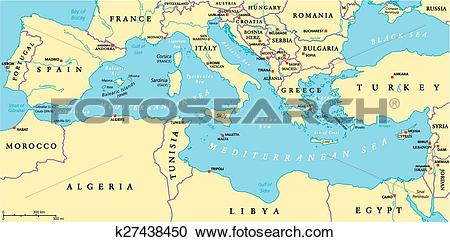 Clipart of Mediterranean Sea Region Political k27438450.