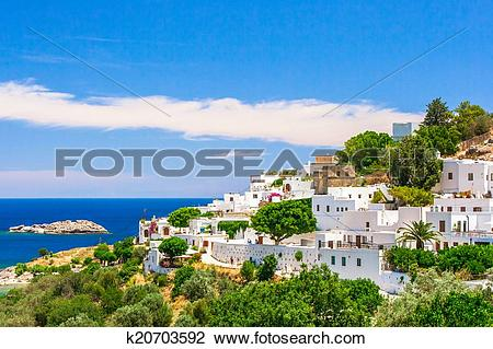 Stock Photo of Mediterranean village with white houses on the sea.