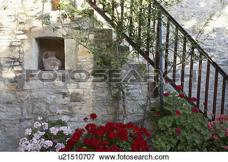 Picture of Cyprus Courtyard of Mediterranean village house.