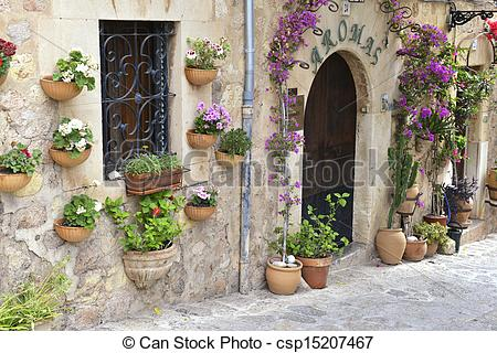 Stock Photographs of Typical Mediterranean Village with Flower.