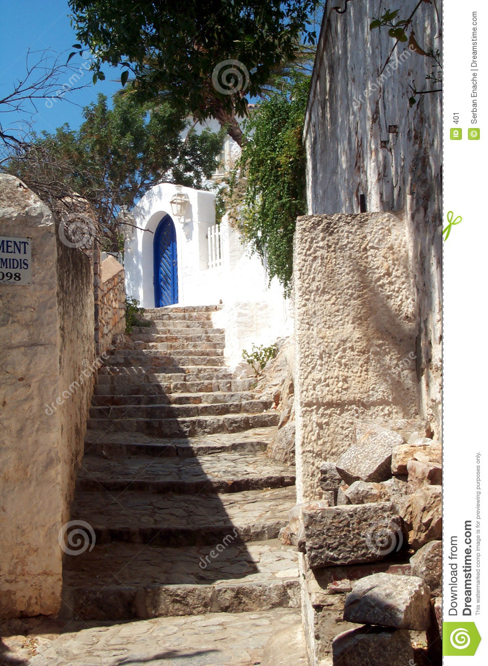Alley In A Mediterranean Village Stock Image.