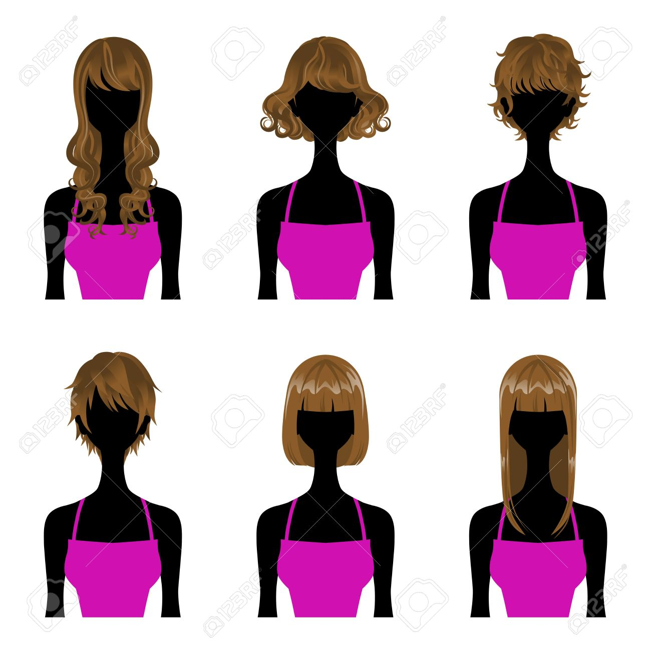 Hairstyle Set Perm And Straight Hair,Three Types Length Short.
