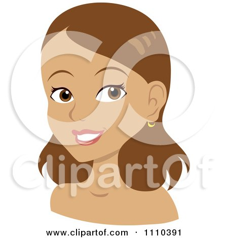 Clipart Happy Black Woman With Curly Or Afro Hair.